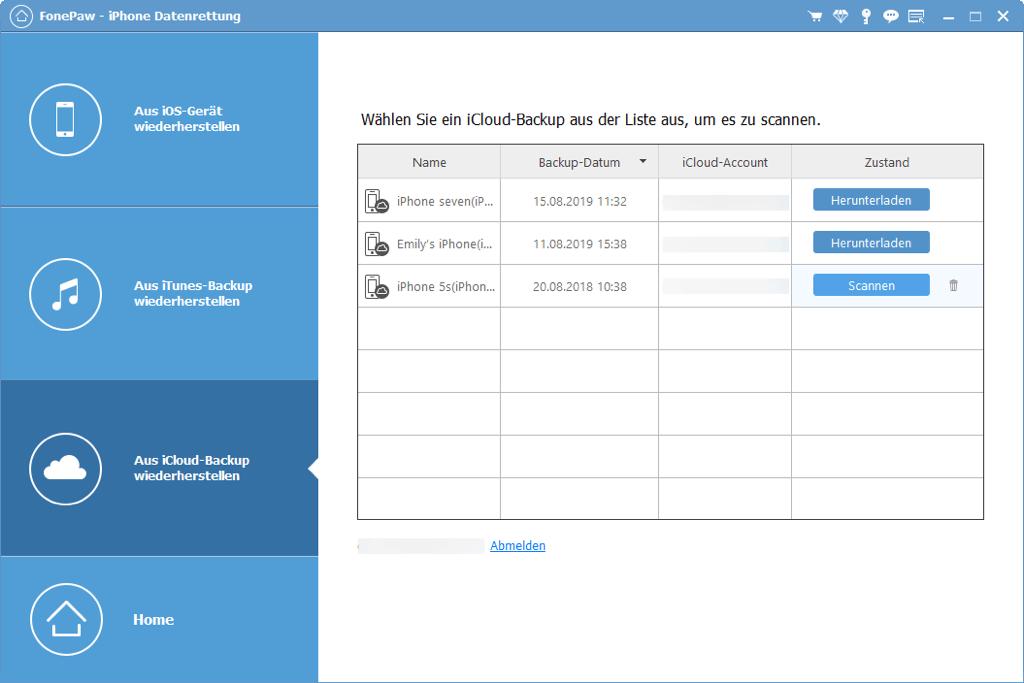 iCloud Backup auswählen