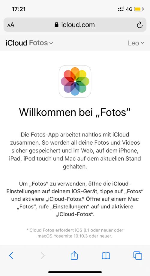 iCloud Fotos auf iPhone zugreifen online