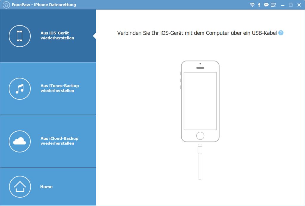 Fonepaw iPhone Datenrettung öffnen und ein iPhone mit dem PC verbinden