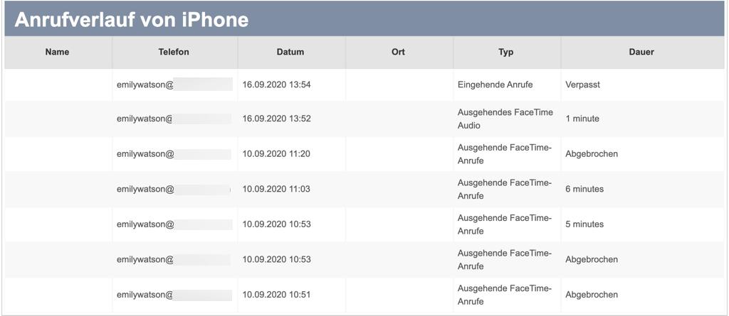 iPhone Anrufliste exportieren