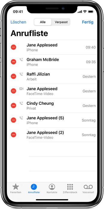iPhone Anrufliste löschen