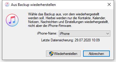 iPhone aus Backup wiederherstellen mit iTunes