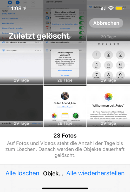 iPhone Fotos alle löschen