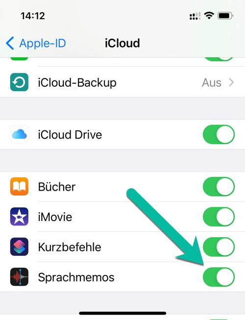 iPhone Sprachmemos synchronisieren iCloud