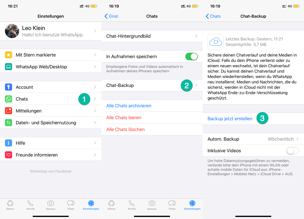 WhatsApp Backup jetzt erstellen