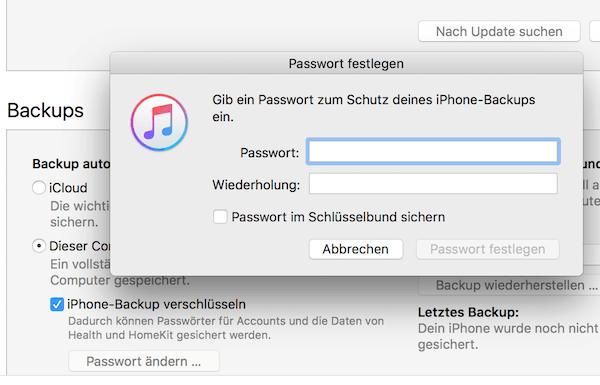 iPhone Backup Passwort festlegen