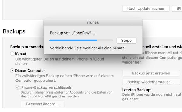 iTunes Backup verschlüsseln