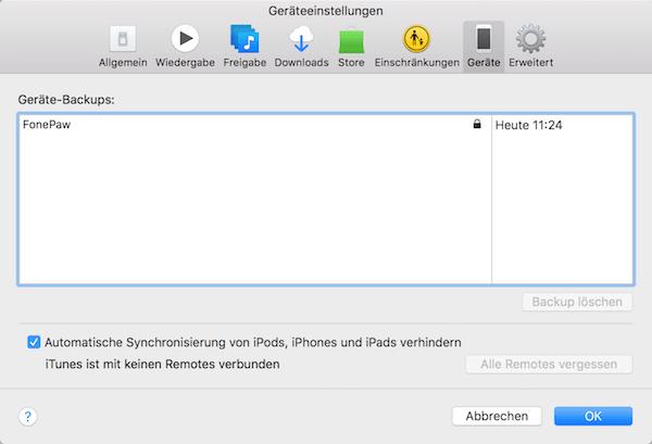 iPhone Backup überprüfen