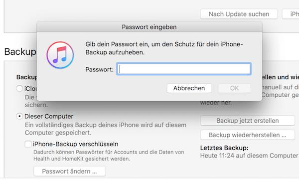 iPhone Backup verschlüsseln deaktivieren
