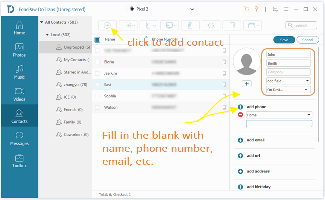 Add Contacts to Device