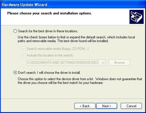 Update Driver in Windows XP