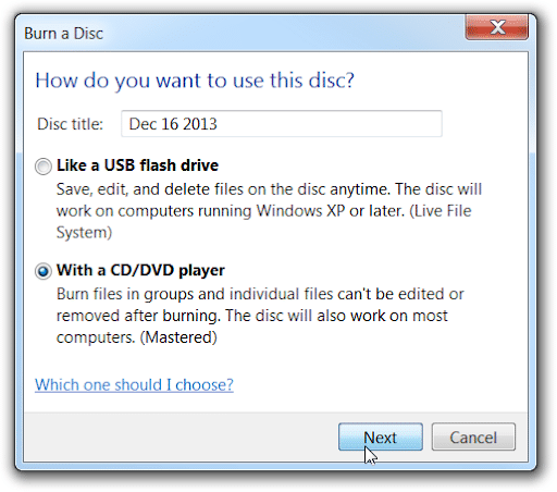 Burn Disc With DVD Player