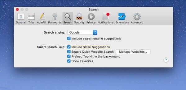 Change Search Settings in Safari