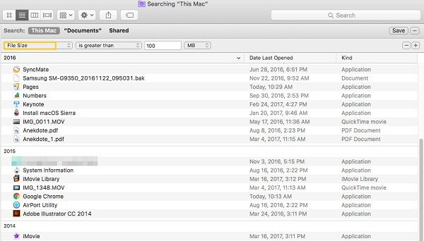 Search Large Files on Mac