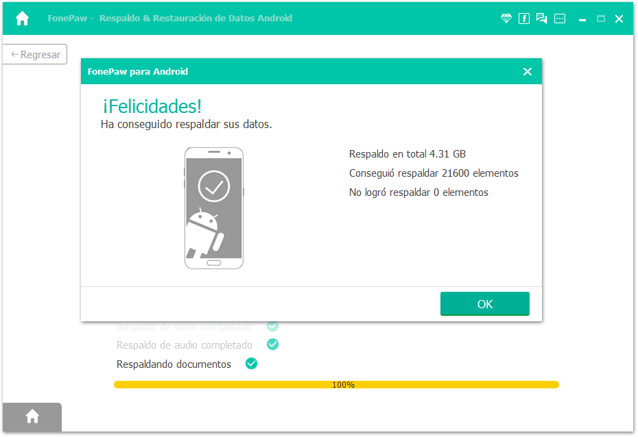 respaldo completado de historial de llamada Android