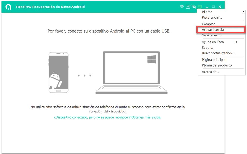 Registrar FonePaw Recuperación de Datos Android