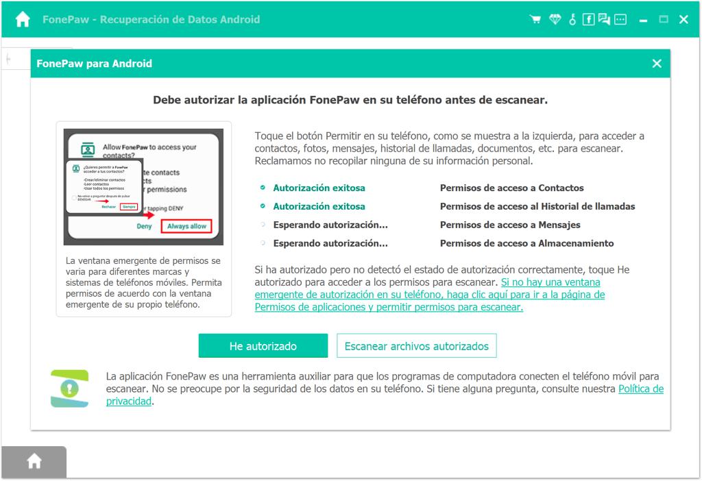 Escanear archivos autorizados
