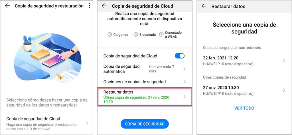 Recuperar las fotos desde la copia de seguridad de cloud