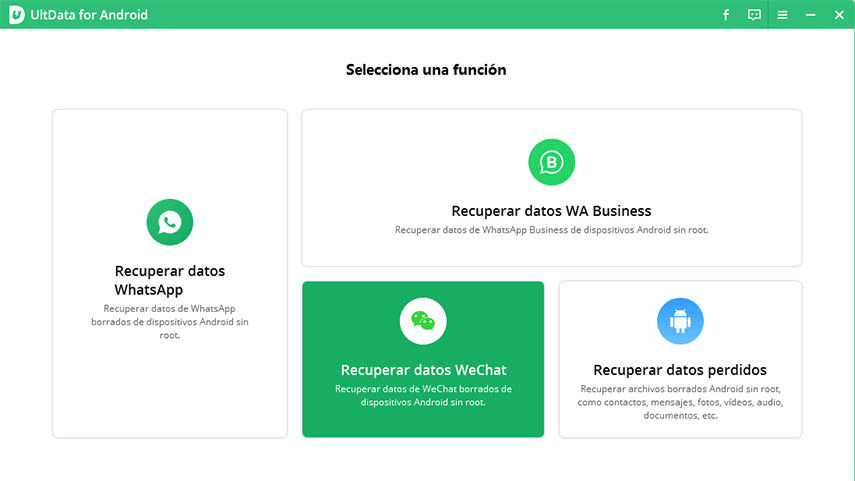 Interfaz de Tenorsahre UltData para Android