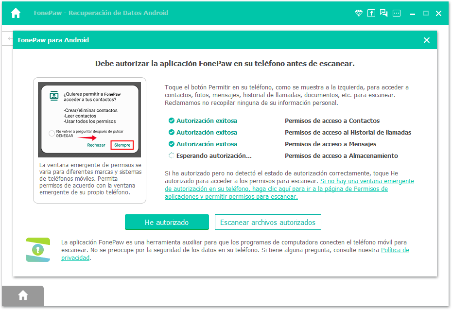 Permitir a FonePaw acceder a datos del dispositivo