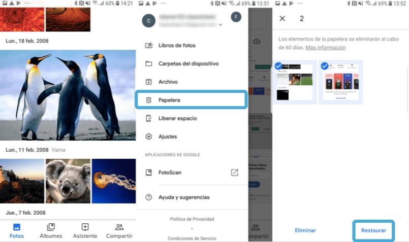 Recuperar fotos borradas Android via Google Fotos