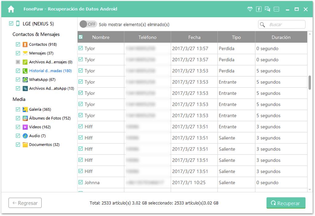 Recuperar registro de llamadas de Android