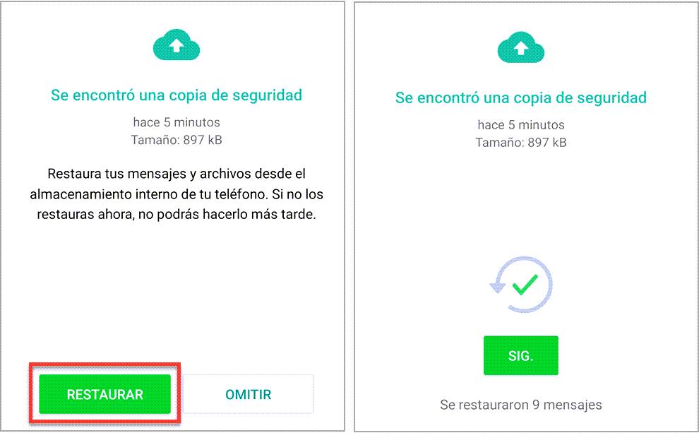Restaurar los chats de WhatsApp desde la copia de seguridad