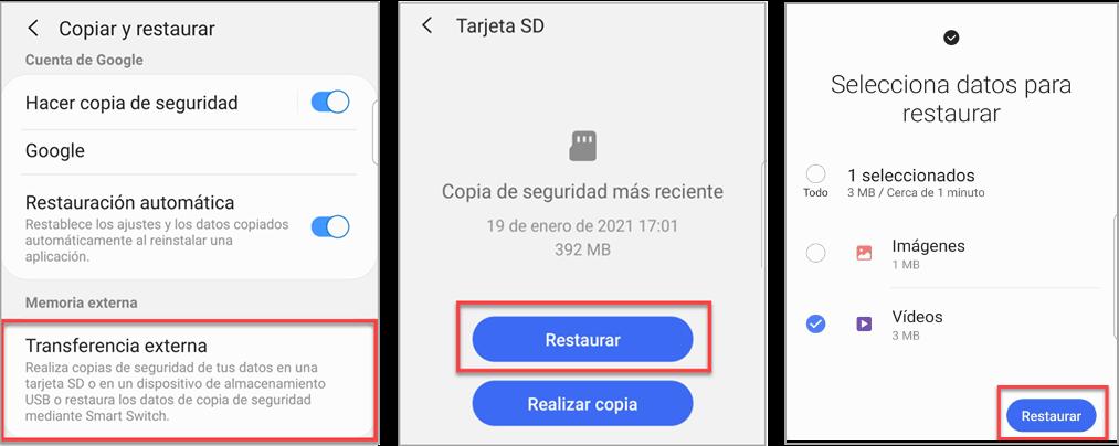 Restaurar los videos borrados desde la tarjeta SD