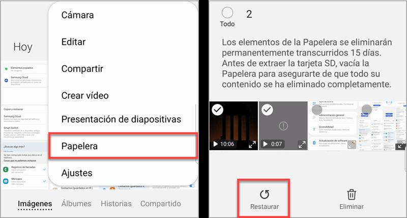 Restaurar los videos borrados desde la papelera del dispositvio Android