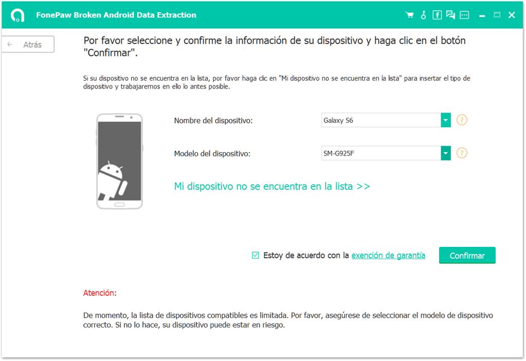 Confirmar la información del móvil