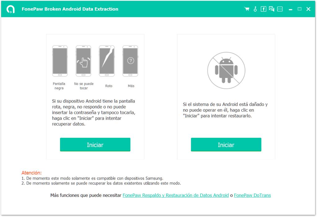 Interfaz de Extracción de Datos Android Dañado
