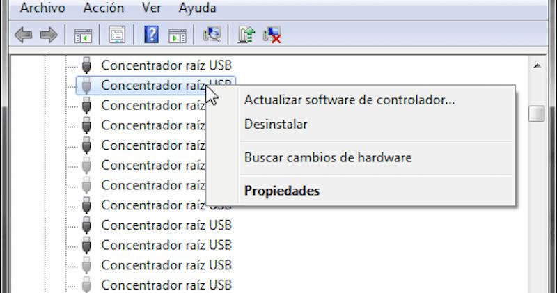actualizar software de controlador USB
