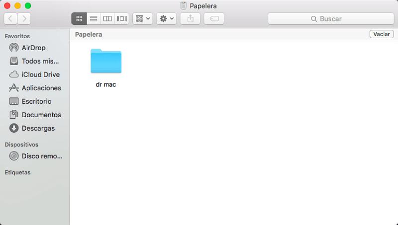 recuperar archivos de Papelera en Mac