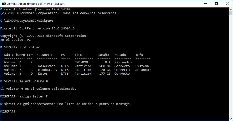 restaurar partición con símbolo del sistema diskpart