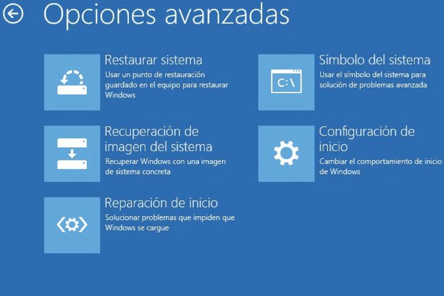 restaurar sistema en opciones avanzadas en Windows