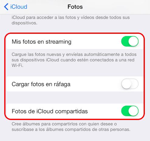 activar fotos de iCloud compartidas