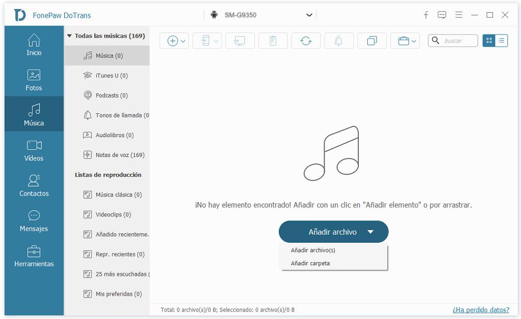 Pasar archivos de PC a Samsung