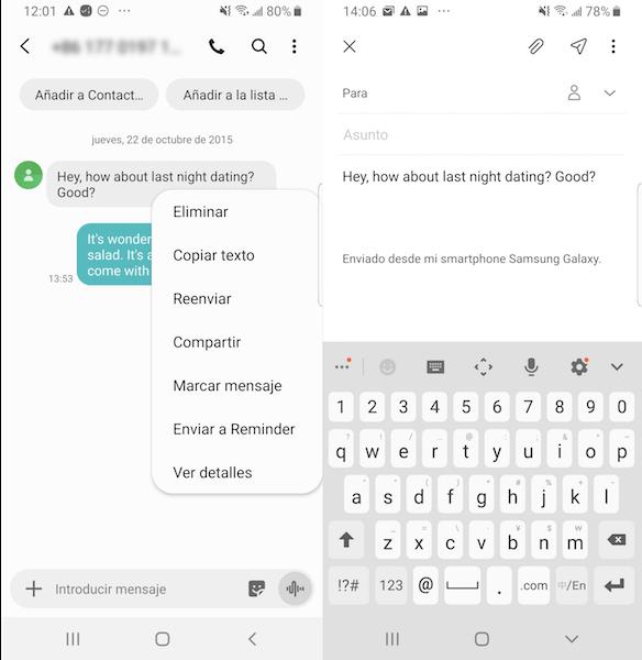 compartir mensajes de Android por correo