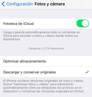Descargar y conservar originales en iPhone