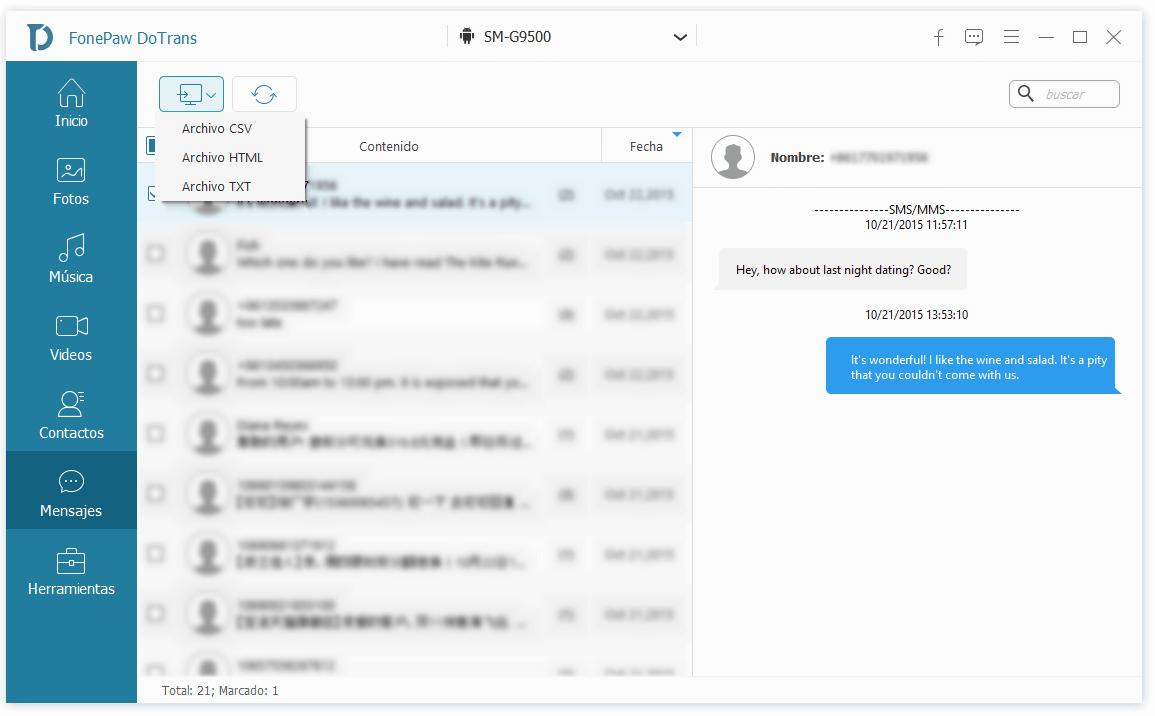 elegir formato de mensajes exportados de Android a PC