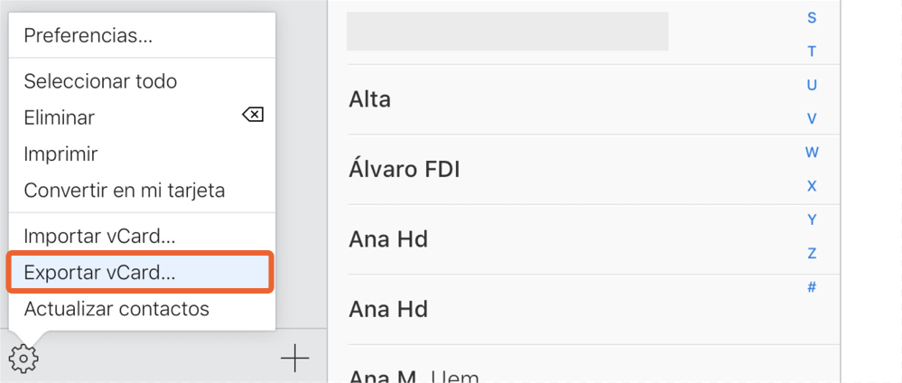 exportar contactos de iCloud