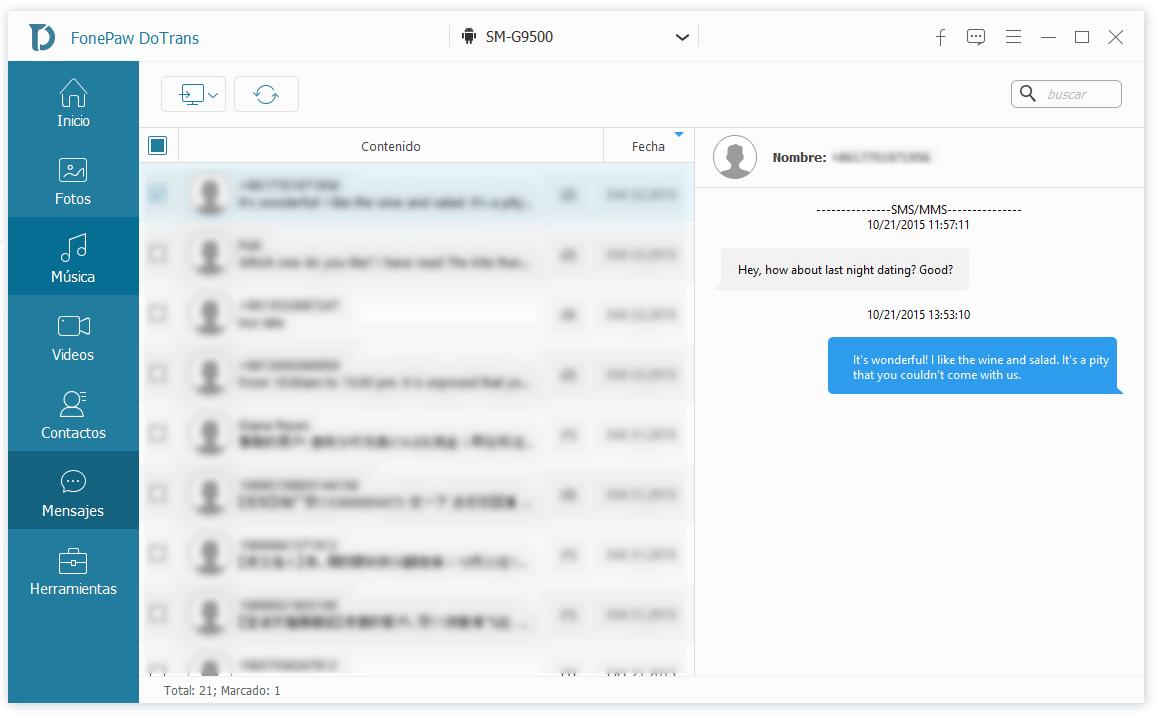 pasar SMS de Android a PC