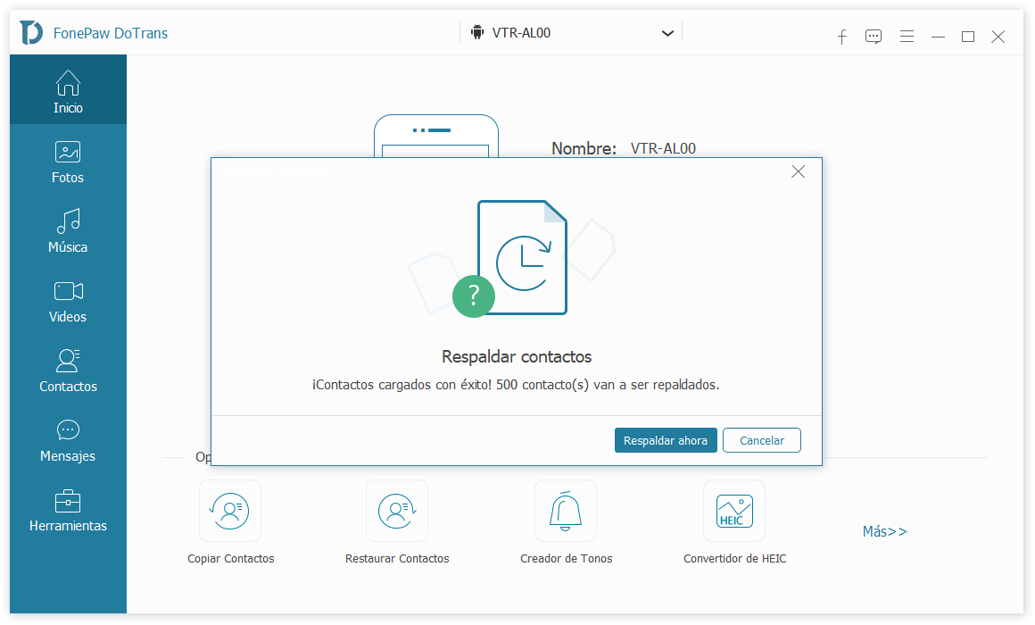 Copia de seguridad de contactos