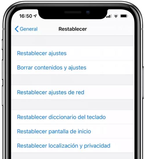 Restablecer localización y privacidad iPhone