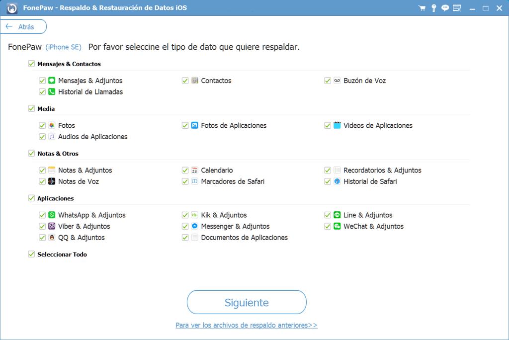 Elegir tipos de archivo para respaldar