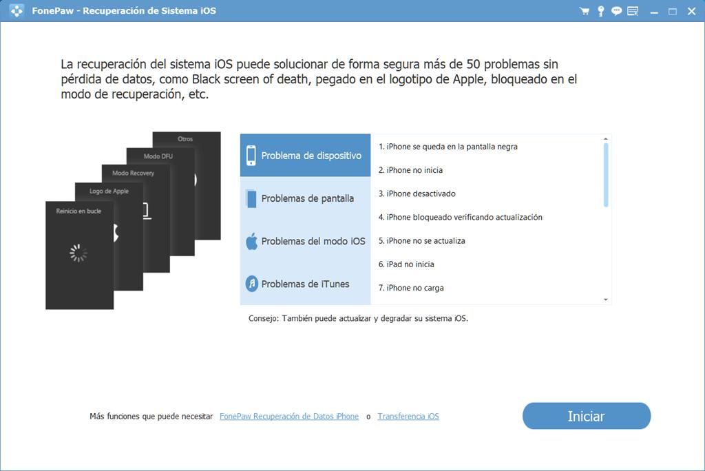 Interfaz de Recuperación de Sistema iOS