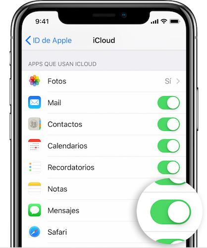 activar Mensajes en iCloud