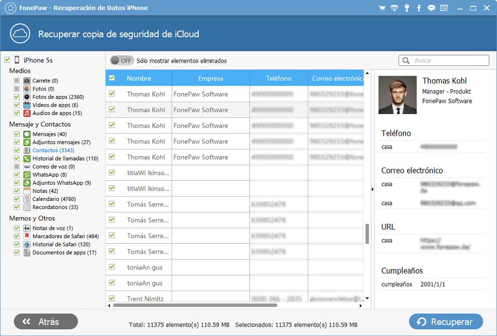 Recuperar Datos desde archivos de respaldo iCloud