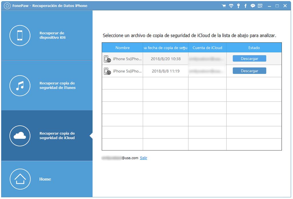 seleccionar respaldo de icloud