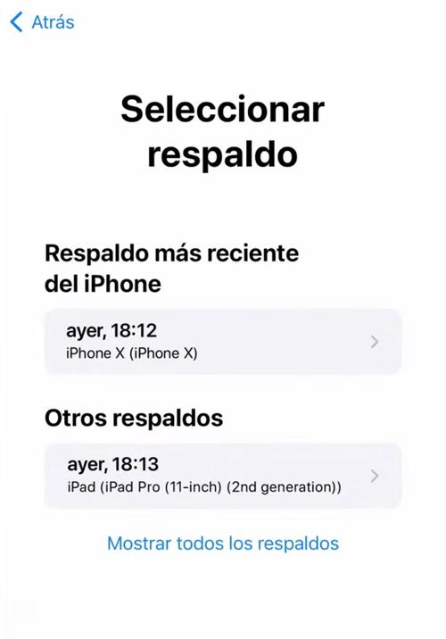 Seleccionar el respaldo de iPhone